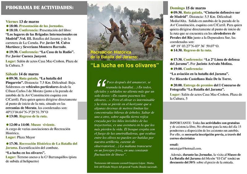 """Programa V Jornadas """"La Batalla del Jarama"""" 2015"""