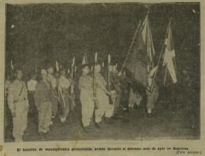 Policía Internacional de la Zona Internacional de Getxo rindiendo honores