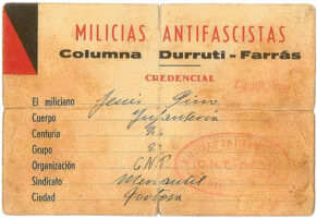 Credencial de la Columna Durruti,</br>24 de julio de 1936