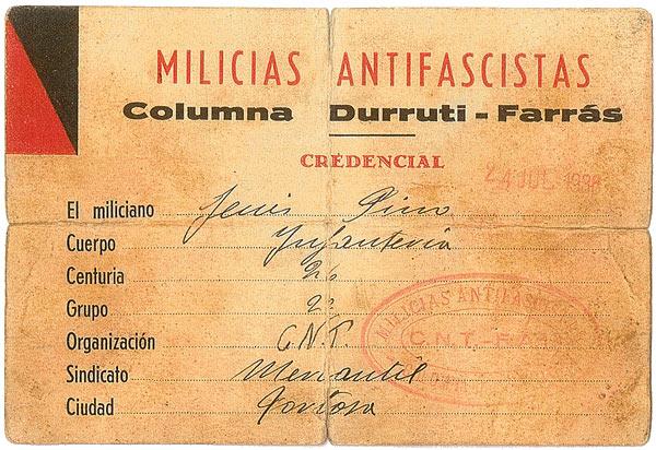 Credencial Columna Durruti