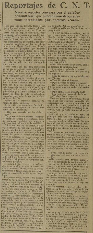 Entrevista en CNT del Norte del 7-1-1937