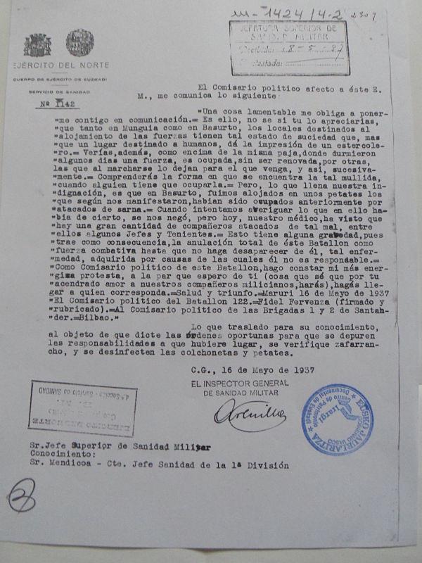 Escrito del Batallón 122 sobre las condiciones del alojamiento de las tropas. 15-5-1937