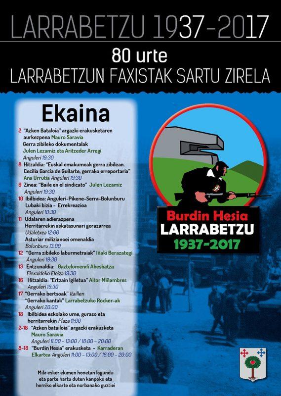 """Cartel y programa """"Burdin Hesia Larrabetzu 1937-2017"""""""