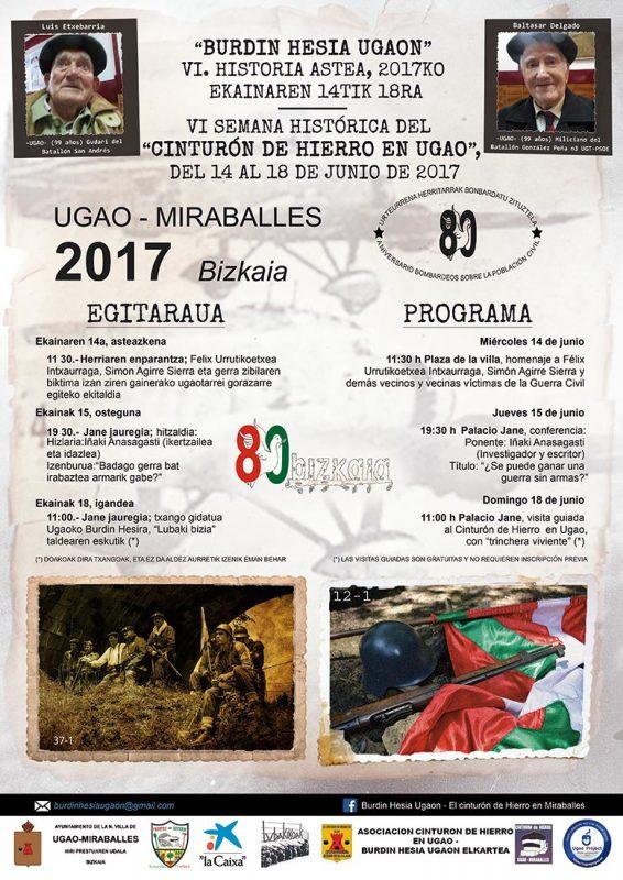"""Cartel y programa """"Burdin Hesia Ugaon / Cinturón de Hierro en Ugao"""" 2017"""