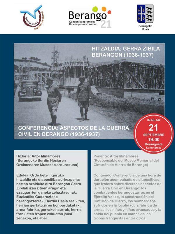 Cartel Hitzaldia: Gerra Zibila Berangon (1936-1937) / Conferencia: Aspectos de la Guerra Civil en Berango (1936-1937)