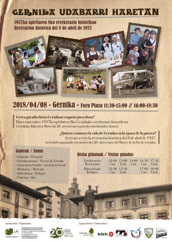 Cartel Gernika Udabarri Haretan. Recreación histórica del 8 de abril de 1937. 2018