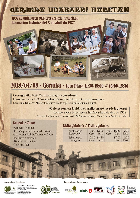 """Cartel """"Gernika Udabarri Haretan. Recreación histórica del 8 de abril de 1937"""" 2018"""