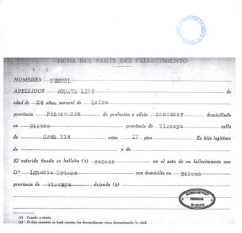 Ficha del parte de fallecimiento de Manuel Aguete
