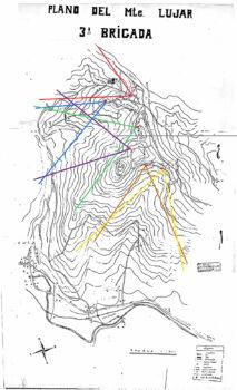 Mapa de los sectores de tiro en Monte Lujar